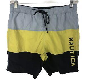 NAUTICA Mens Swim Trunks Shorts Yellow And Blue Size L