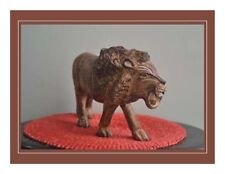 """African Solid Wood Hand Carved Wood Lion 4.25"""" Decorative Collectible"""
