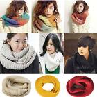 Fashion Women Men Winter Warm Knit Neck Circle Wool Long Scarf Shawl Wrap Collar