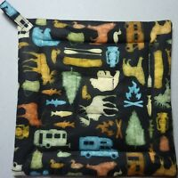 Quilted Deluxe Hot Pad// Pot Holder CATS WITH LONG TAILS Green// Gold// Black