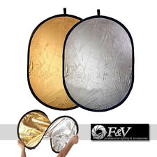 """92x122cm (36""""x48"""") Collapsible Round Studio Light Reflector Silver & Gold"""