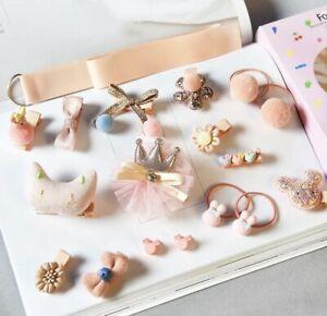 18 Pcs Set Fashion Toddler Baby Girls Hair Clips Bows Peach Pink Princess Style