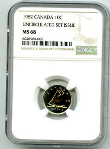 1982 CANADA 10 CENT NGC MS68 UNCIRCULATED SET ISSUE DIME COIN POP=4 RARE