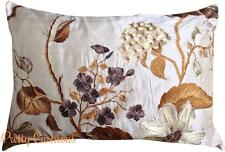 Malabar Mandara Silk Cream & Brown Embroidered Designer Cushion Cover