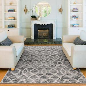 Deal Extra Large Rugs Light Grey Soft Plush Trellis  Lounges Carpet 240x340cm