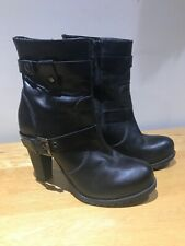 bata black leather biker heel ankle trouser boots 39 worn once 6