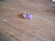 New Size 7 1/2 Silver Plated Heart Cutout Natural Amethyst Stone Ring In Box