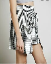 Free People 'All Tied Up' Cream/Black Combo Stripe Layered Skirt w/Pockets XS