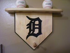 "Baseballs Detroit Tigers home plate shelf 3 balls 2 bats letter ""D"" old English"