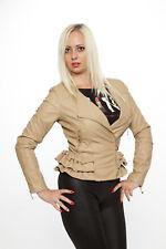 Damen Kunst Lederjacke mit Schößchen Lederimitat Jacke Rüschen