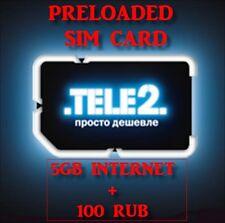 NEW! 5GB +100 RUB  Russian PREFUNDED SIM CARD Russia TELE2 micro or nano