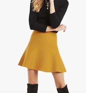 BNWT OASIS mustard ochre yellow Katy flippy knit A line mini skirt size M 12