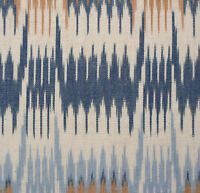 """Hand-Woven Cotton Ikat Drapery Fabric Artisan Shades ofBrown Blue White 44"""" wide"""