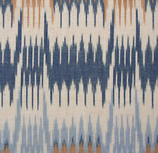 "Hand-Woven Cotton Ikat Drapery Fabric Artisan Shades ofBrown Blue White 44"" wide"