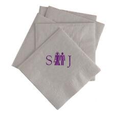 100 Custom Printed Bride and Groom Monogram Paper Napkins Wedding Napkins