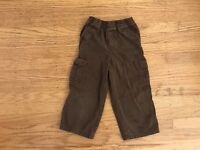 Faded Glory boys brown khaki pullup pants sz 4T Organic cotton