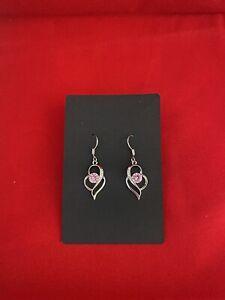 Silver 925 Pink crystal drop earrings uk based FREE P & P