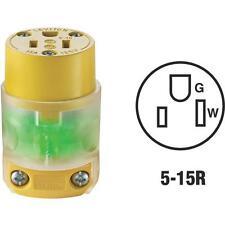 5 Pk Leviton 15A 3-Wire 2-Pole Illuminated Electric Cord Connector R50-515CV-LIT