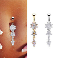 Stainless Steel Body Piercing Crystal Flower Dangle Navel Ring Belly Button Bar