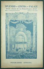 PROGRAMME DU CINEMA SPLENDID PALACE - L'INSIGNE MYSTERIEUX - 1923 (PARIS)