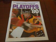 1980 Vancouver Canucks program vs BUFFALO Playoffs Game 2 vol 10 no.2 nrmt*