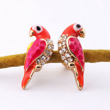 New Fashion Crystal Earrings Women Loverly Animal Red Bird Ear Stud EarringcjaJB