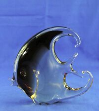VINTAGE MURANO HANDMADE RETRO ANGEL FISH BROWN CLEAR GLASS FIGURINE