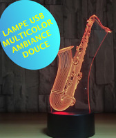 LAMPE SAXOPHONE ambiance -multicolor- chevet enfant - 3 piles AAA/ USB