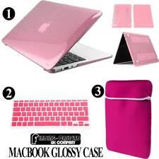 Bundle Glossy Case + Neoprene Pouch + Keyboard Skin Cover For Apple Macbook