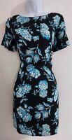 Womens Topshop tea Dress NEW size 10 black blue flower party smart work