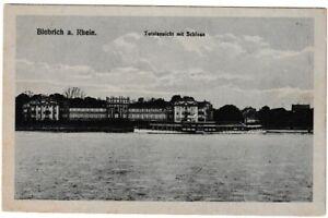 Ansichtskarte Biebrich am Rhein - Totalansicht mit Schloss und Dampfer - s/w
