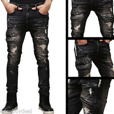 Men's Distressed Ripped Designed Jeans Trousers Slim Fit Motorcycle Denim Pants