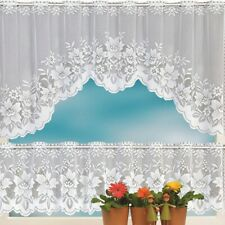 2pcs Floral Lace Semi-Sheer Kitchen Curtain Choice Tier Valance Swag White