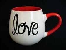 New~PIER 1 Imports~LOVE~Coffee Mug~CERAMIC~Ball Shaped~WHITE~Red~BLACK~Embossed