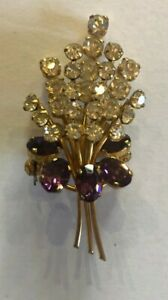 Vintage Pretty Gold Metal Brooch With Purple And Clear Stones, Carl Haebler
