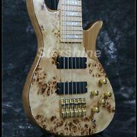 6 String Electric Bass Guitar ASH Body Burl Top Gold Hardware Maple Fingerboard