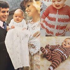 Rare 1970s Baby Knitting & Crochet Pattern Book Christening Dress Sleeping Bag