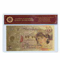 WR 24K Gold Great Britain 10 Pounds 2017 New Polymer Banknote Princess Diana+COA
