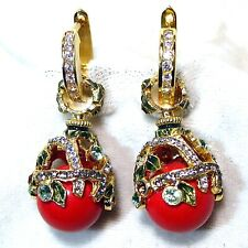 Sterling Silver Red Coral Faberge Egg Earrings Crystals Enamel Gold-plate Hoops