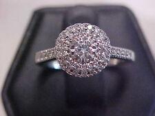 *VINTAGE STYLE*.57ctw ROUND DIAMOND HALO PROMISE RING 10K WHITE GOLD sz7.25 GIFT