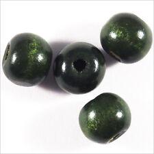 Lot de 50 perles rondes en Bois 10mm Vert foncé