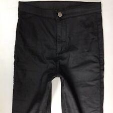 Ladies Topshop JONI Black Coated Jeggings Skinny Jeans W26 L30  Uk 8 (827c)