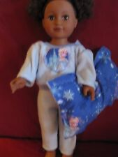 Handmade doll clothes for American Girl/18 inch/blue fleece pajamas/pillow/Snow