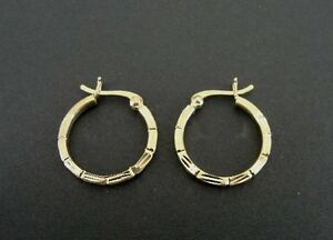 Gold Vermeil over Sterling Silver 925 with Design Pierced Hoop EARRINGS 3/4 Inch