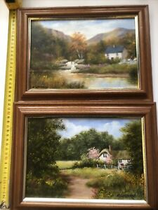 original oil paintings landscape Countryside X 2