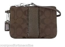 NWT Coach Signature C Stripe Lurex Wristlet Purse Wallet Brown Mahogany 49174