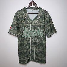 CORPUS CHRISTI HOOKS Camo Military Button Front Baseball Jersey Size Large