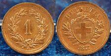Schweiz 1 Rappen 1877, vz+, schöne Patina, am Rand kl. Zainende