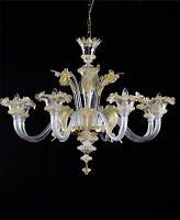 Lampadario in vetro di Murano classico Nelson da soffitto chandelier 6 luci oro