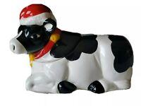 Vintage Christmas Cow Ceramic Cookie Jar Earthenware Moos Santa Hat